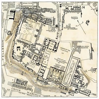 picture regarding Printable Map of Ancient Rome called Map of Palatine Hill, Town Heart of Historical Rome Giclee Print by way of