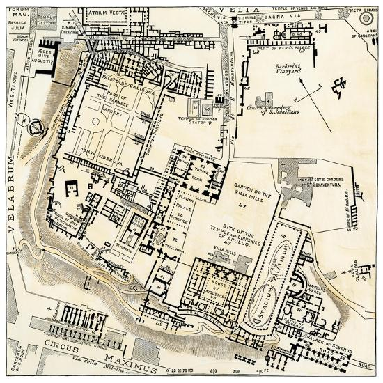 Map Of Palatine Hill City Center Of Ancient Rome Giclee Print By Art Com
