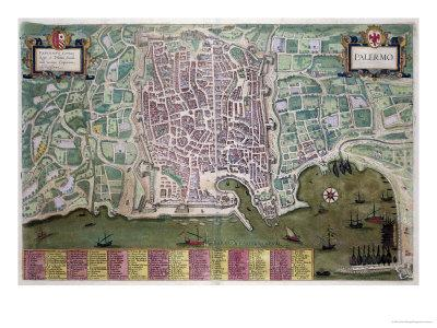 Map of Palermo, from Civitates Orbis Terrarum by Georg Braun-Joris Hoefnagel-Framed Giclee Print