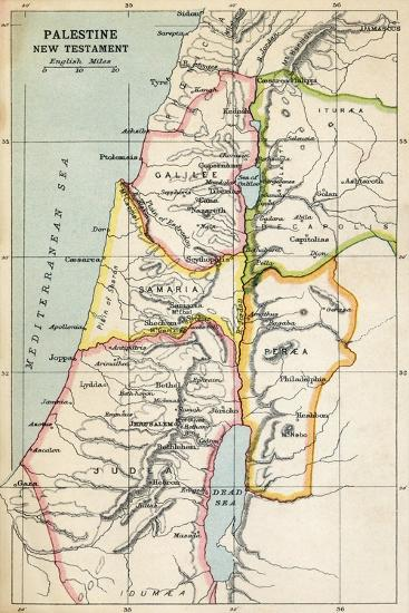 Map of Palestine as Described in the New Testament--Giclee Print