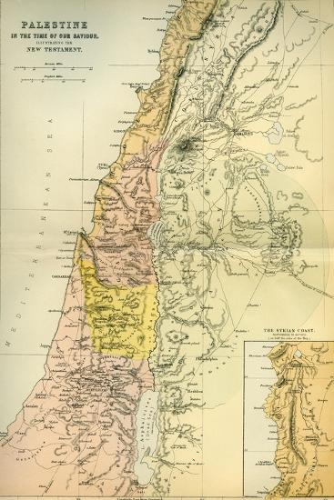 Map of Palestine Circa 1st Century A.D. from the Imperial Bible Dictionary, Published 1889--Giclee Print