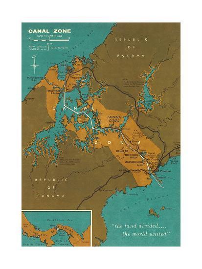 Map of Panama Canal Zone Art Print by | Art.com