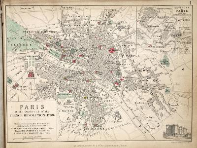 Map of Paris at the Outbreak of the French Revolution, 1789, Published by William Blackwood and…-Alexander Keith Johnston-Giclee Print
