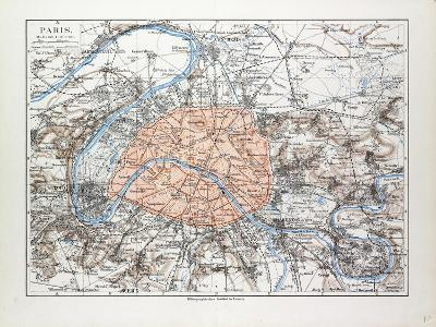 Map of Paris France 1899--Giclee Print