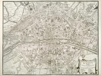 Map of Paris, from 'L'Atlas De Paris' by Jean De La Caille, 1714--Giclee Print