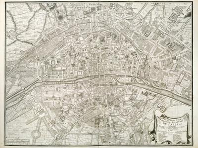 Map of Paris, from 'L'Atlas De Paris' by Jean De La Caille, 1714