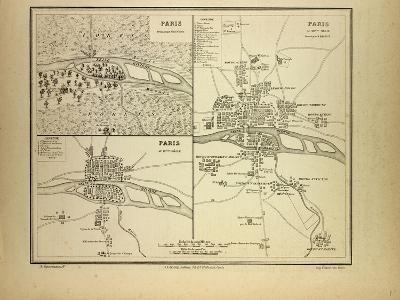 Map of Paris in 60 B.C. in the 4th Century and in the 12th Century France--Giclee Print