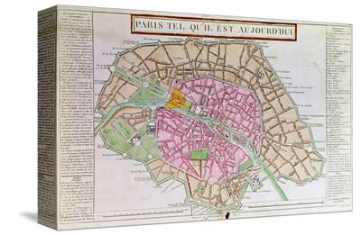 Map of Paris, June 1800--Stretched Canvas Print