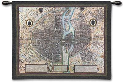 Map of Paris--Wall Tapestry