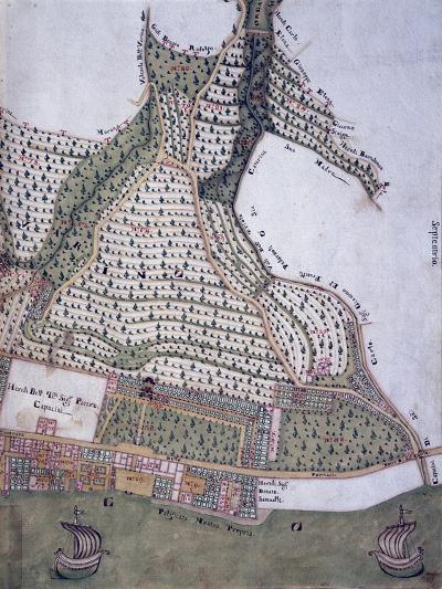 Map of Park and Villa of Bettoni Counts in Bogliago, Gargnano, Lake Garda, Italy, 18th Century--Giclee Print