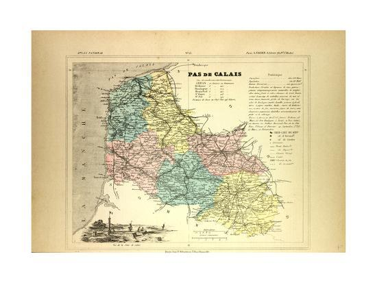 Map of Pas De Calais France Giclee Print by | Art.com Calais France Map on