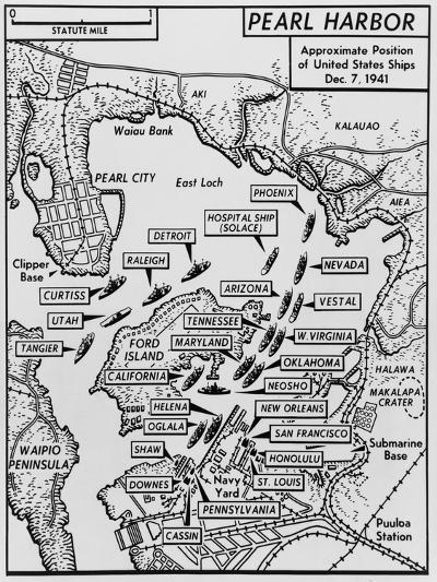 Map of Pearl Harbor with Location of Ships Just Prior to the Japanese Attack on Dec. 7, 1941--Art Print