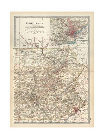 Map of Pennsylvania, Eastern Part. United States. Inset Map of Philadelphia and Vicinity-Encyclopaedia Britannica-Giclee Print