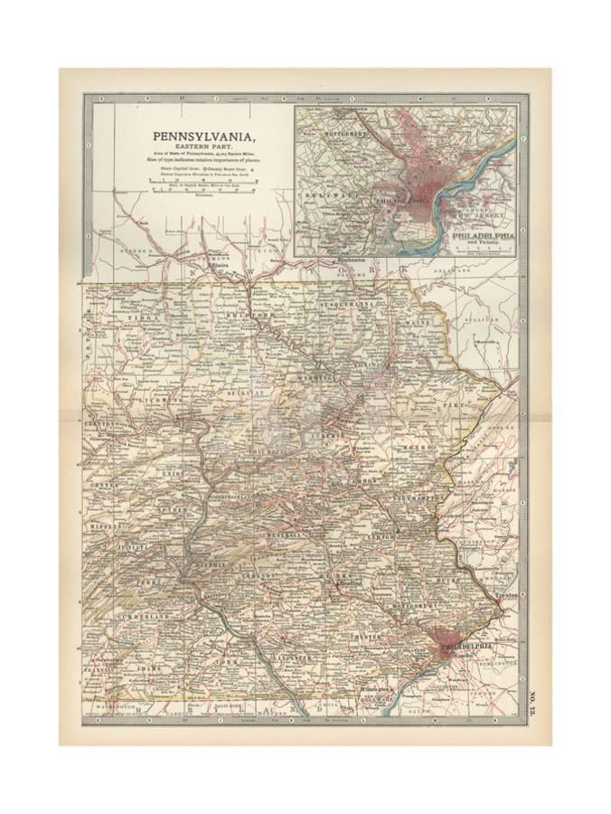 Map of Pennsylvania, Eastern Part. United States. Inset Map of Philadelphia  and Vicinity Giclee Print by Encyclopaedia Britannica | Art.com