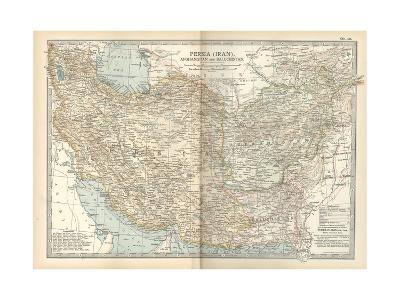 Map of Persia (Iran), Afghanistan and Baluchistan-Encyclopaedia Britannica-Giclee Print