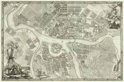 Map of Petersburg (Book to the 50th Anniversary of the Founding of St. Petersbur), 1753--Giclee Print