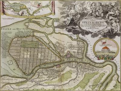Map of Petersburg (Saint Petersburg Master Pla)-Jean-Baptiste Alexandre Le Blond-Giclee Print