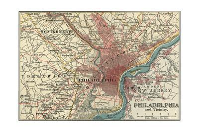 image about Printable Maps of Philadelphia identified as Map of Philadelphia (C. 1900), Maps Giclee Print via Encyclopaedia Britannica