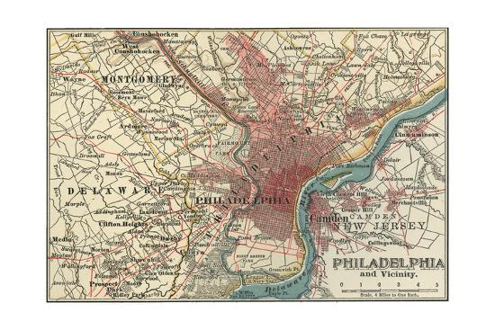 Map 1900.Map Of Philadelphia C 1900 Maps Giclee Print By Encyclopaedia Britannica Art Com