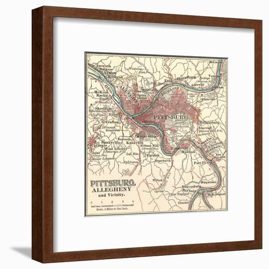 Map of Pittsburg, Now Spelled Pittsburgh (C. 1900)-Encyclopaedia Britannica-Framed Premium Giclee Print