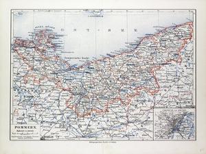 Map of Pommern Mecklenburg-Vorpommern (Germany) and North West Poland 1899