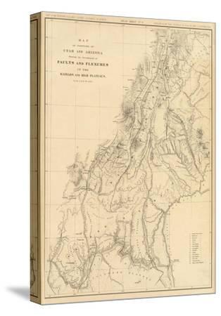 photo regarding Printable Map of Utah named Map of Quantities of Utah and Arizona, c.1879 Stretched Canvas Print via