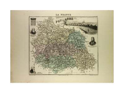 Map of Puy De Dôme 1896, France--Giclee Print