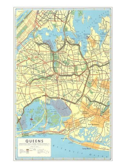 Map Of New York Showing Queens.Map Of Queens New York Art Print By Art Com
