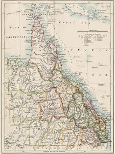Map of Queensland, Australia, 1870s