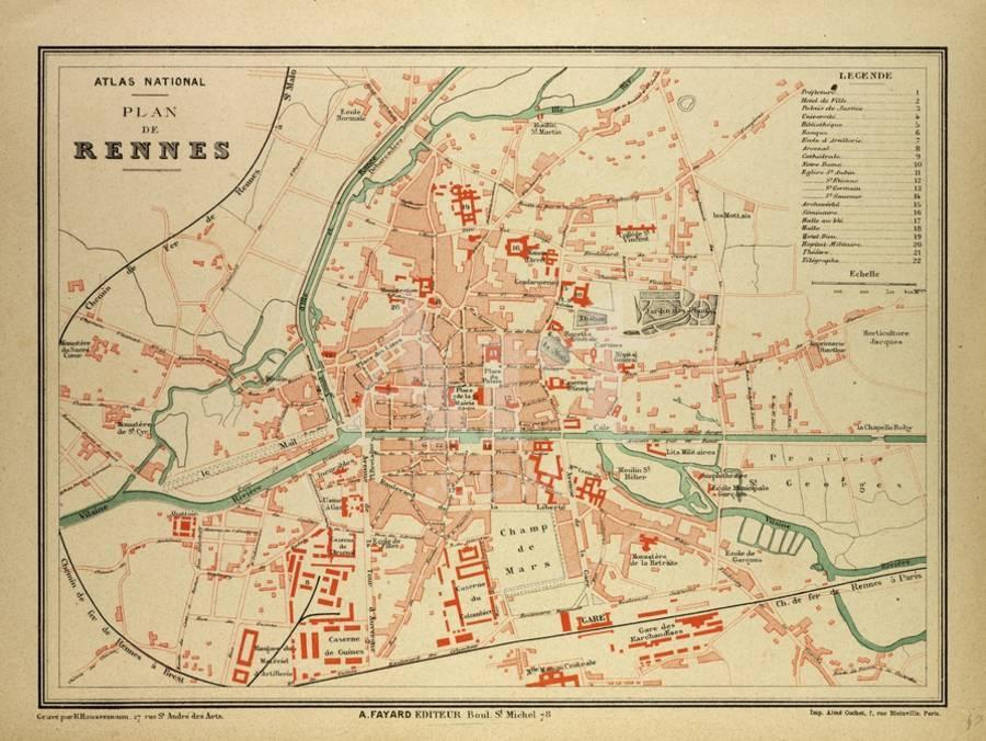 Map Of France Rennes.Map Of Rennes France Giclee Print By Art Com