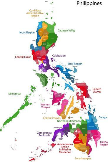 Map of Republic of the Philippines with Eighty Provinces Art Print ...