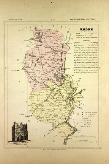 Map of Rhône France--Giclee Print
