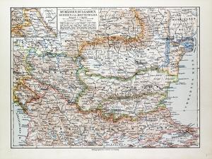 Map of Romania Serbia Bulgaria Montenegro 1899