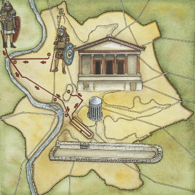 Map of Rome: Camp, Temple of Vesta, Circus Maximus, Capitoline Hill and the Temple of Jupiter--Giclee Print