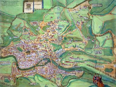 "Map of Rome, from ""Civitates Orbis Terrarum"" by Georg Braun and Frans Hogenberg, 1570-Joris Hoefnagel-Giclee Print"