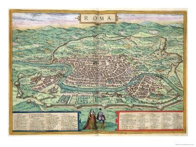 "Map of Rome, from ""Civitates Orbis Terrarum"" by Georg Braun and Frans Hogenberg, circa 1572-Joris Hoefnagel-Giclee Print"