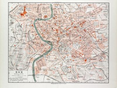 picture regarding Printable Map of Rome identify Map of Rome Italy 1899 Giclee Print as a result of