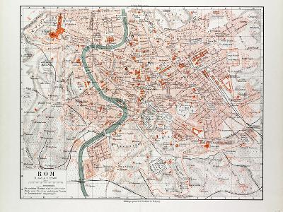 Map of Rome Italy 1899--Giclee Print