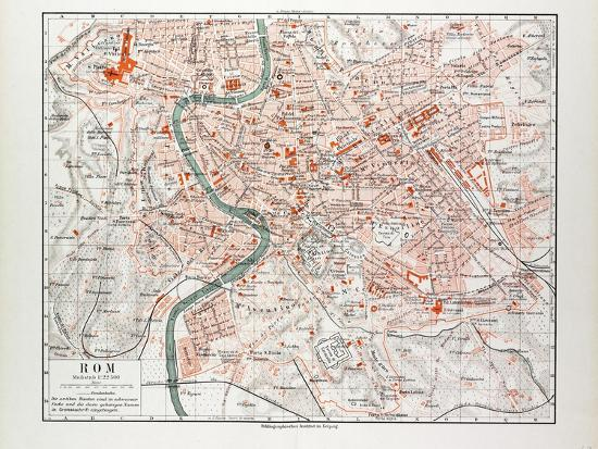 Map of Rome Italy 1899 Giclee Print by | Art.com Printable Map Of Rome on