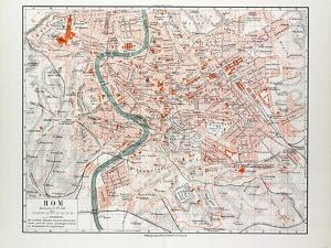 Map of Rome Italy 1899