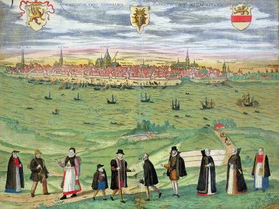 "Map of Rostock, from ""Civitates Orbis Terrarum"" by Georg Braun and Frans Hogenberg circa 1572-1617-Joris Hoefnagel-Giclee Print"
