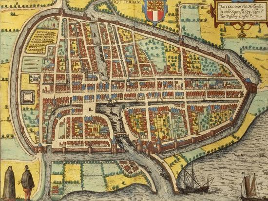 Map of Rotterdam, Netherlands, from \'Civitates Orbis Terrarum\', 1540 ...