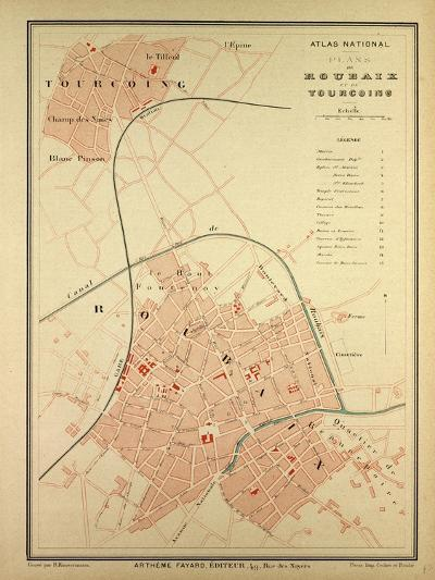 Map of Roubaix and Tourcoing--Giclee Print