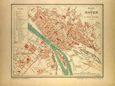 Map of Rouen France--Giclee Print