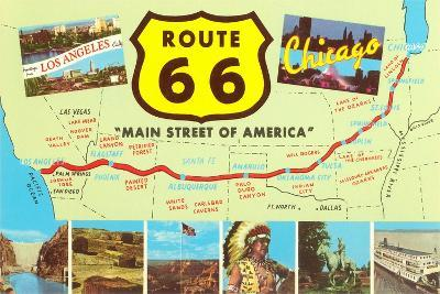 Map of Route 66--Stretched Canvas Print