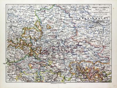 Map of Sachsen-Anhalt Sachsen Saxony Germany 1899--Giclee Print