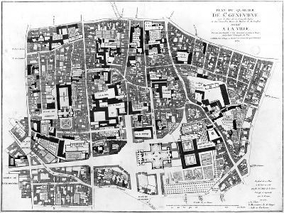 Map of Sainte-Genevieve Area, Paris, 1756-Jean De La Grive-Giclee Print