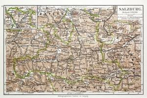 Map of Salzburg Austria 1899
