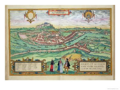 Map of Salzburg, from Civitates Orbis Terrarum by Georg Braun-Joris Hoefnagel-Giclee Print