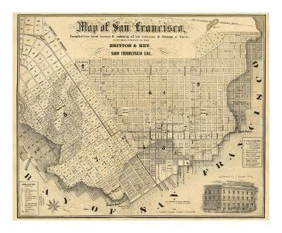 Map of San Francisco, c.1852-Britton & Rey-Art Print